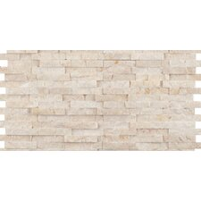"Hamlet 6"" x 12"" Antique Tumbled Travertine Mosaic in Beige"
