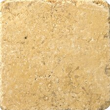 "Natural Stone 4"" x 4"" Travertine Vino Tumbled Tile in Gold"