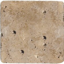"Natural Stone 8"" x 8"" Tumbled Travertine Tile in Mocha"