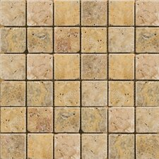 "Natural Stone 12"" x 12"" Cottage Tumbled Travertine Mosaic in Scabos"