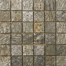 "Natural Stone 12"" x 12"" Honed Slate Mosaic in Golden Green"