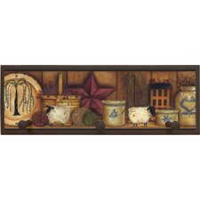 "Country Pottery Wall Art with Pegs - 7"" x 20.5"""