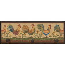 "Rooster Wall Art with Pegs - 7"" x 20.5"""