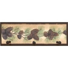 "Pine Cone Wall Art with Pegs - 7"" x 20.5"""