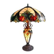 Tiffany Style Victorian Double Lit Table Lamp with 30 Cabochons