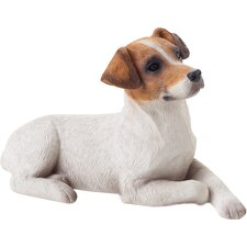 Small Size Jack Russell Terrier Sculpture in Brown / White