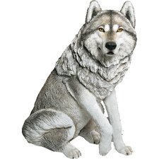 Life Size Large Wolf Sculpture in Gray