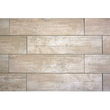 "Handscraped Wood 36"" x 6"" Porcelain Tile in White"