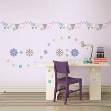 Kids Patchwork Daisy Blox and Stripe Wall Decal Set