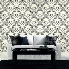 Ink Chandelier Wallpaper in Black Shine