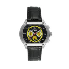 Dash Men's Watch with Silver Case and Black / Yellow Dial