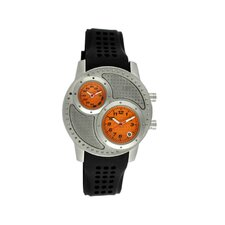 Octane Men's Watch with Silver Case and Orange Dial