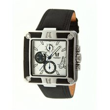 Snowest Square Men's Watch with Black Band and White Dial