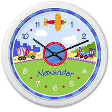 Trains, Planes and Trucks Personalized Clock with White Case