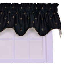 Fleur Di Lis Faux Silk Rod Pocket Scalloped Filler Valance Window Curtain