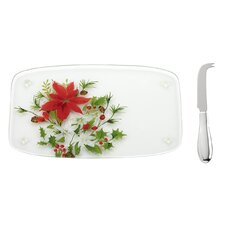 Winter Mdw Glass Cheeseboard with Spreader