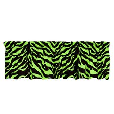 Lime Zebra Cotton Rod Pocket Tailored Curtain Valance