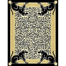 African Adventure Panther Border Novelty Rug
