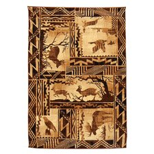 Lodge Design Moose, Deer, Eagle and Flying Novelty Rug