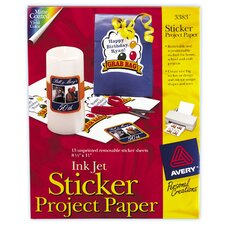 "8.5"" x 11"" Ink Jet Sticker Project Paper 15 Count"