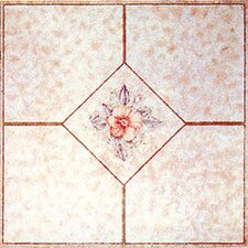 "12"" x 12"" Vinyl Tile in Machine Light Pink Flower"