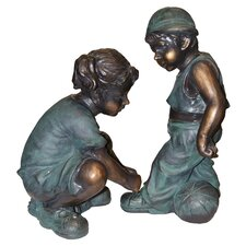 "Girl Tying Boy""s Shoe Statue"