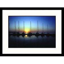 Boat Mast and Sunset Framed Photograph - Ken Wardius