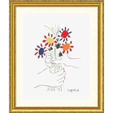 Hand with Bouquet Gold Framed Print - Pablo Picasso