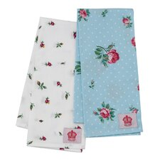 Polka Blue and Rose Buds Tea Towel (Set of 2)