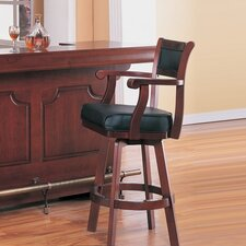 Tiernan Bar Stool with Swivel Leather Cushion Seat and Back in Cherry