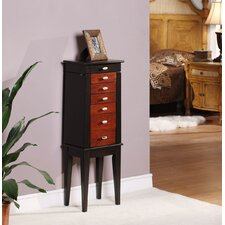 Southport Six Drawer Jewelry Armoire in Brown and Black