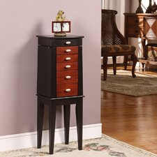 Sumba Yang Five Drawer Jewelry Armoire in Brown and Black