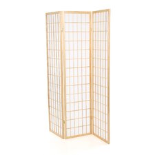 Omak Three Panel Folding Screen in Wood with Natural Frame