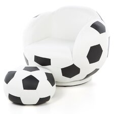 Kid's Soccer Ball Chair and Ottoman