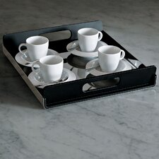 Vassily Rectangular Tray in Mirror Polished with Black Handles by Giulio Lachetti