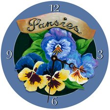Pansies Round Clock