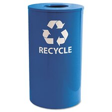 Indoor/Outdoor Round Steel Recycling Receptacle