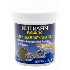 Nutrafin Max Guppy Vegetable Flakes Fish Food - 1.06 oz.
