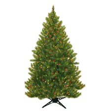 "6' 5"" Green Evergreen Fir Artificial Christmas Tree with 450 Pre-Lit Multicolored Lights"