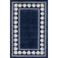 Beach Rug Navy Shell Border Novelty Rug