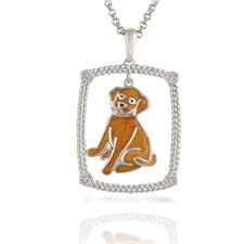 "Sterling Silver and Brilliant Diamond ""Golden Lab"" Enamel Doggy Pendant"