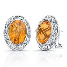 """Dawn"" Sterling Silver and Brilliant Diamond 10 Carat Orange Citrine Earrings"