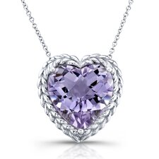 White Gold Amethyst Heart Pendant