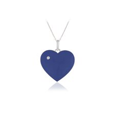 Sterling Silver Heart Blue Enamel Pendant Necklace