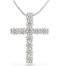10k Gold Cross Diamond Pendant Necklace