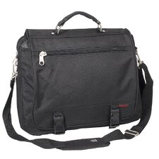 Expandable Portfolio Briefcase with Soft Leather Handle in Black