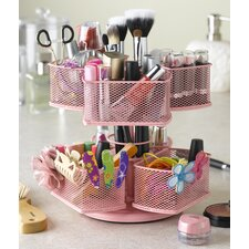 Cosmetic Organizing Carousel in Powder Coated Pink