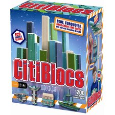 200 Piece Building Block Set in Cool Colors