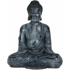 "12"" Japanese Sitting Buddha Statue in Faux Bronze Patina"