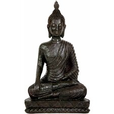 "10"" Laotian Sitting Buddha Statue in Black"
